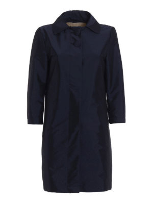 Herno: short coats - Stretch blue dust coat