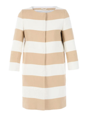 Herno: short coats - Striped collarless overcoat