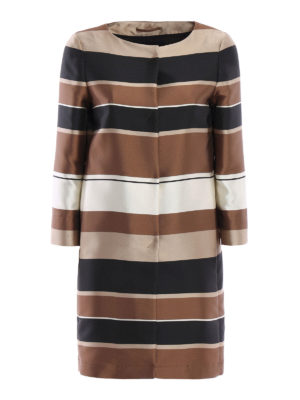 Herno: short coats - Striped silk blend overcoat