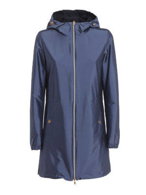 HERNO: short coats - Techno taffeta reversible hooded coat