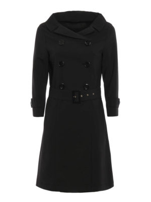 Herno: trench coats - Boat neck wool trench coat