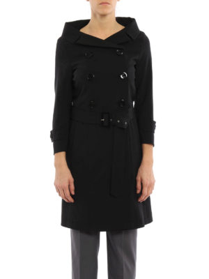 Herno: trench coats online - Boat neck wool trench coat