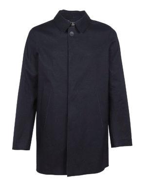 HERNO: cappotti trench - Trench corto blu in tecnotessuto