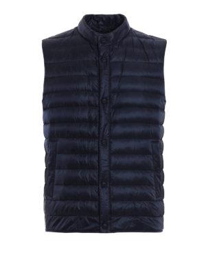 Herno: waistcoats & gilets - Blue nylon quilted padded waistcoat