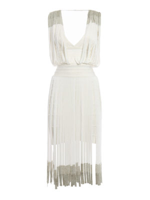 Herve Leger: cocktail dresses - Kym metallic fringe bandage dress