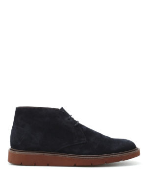Hogan: ankle boots - H322 Derby blue suede desert boots