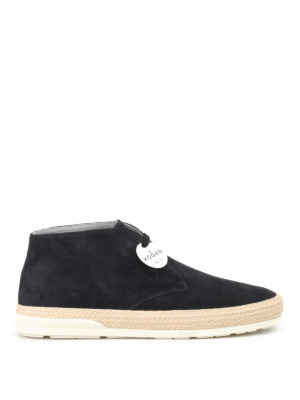 Hogan: ankle boots - H358 Derby high top suede shoes