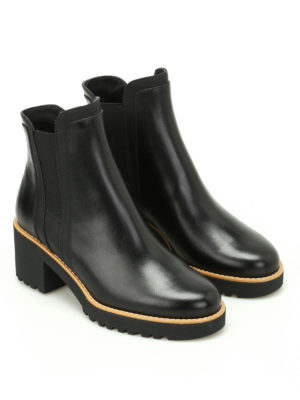 Hogan: ankle boots online - H277 glossy leather booties