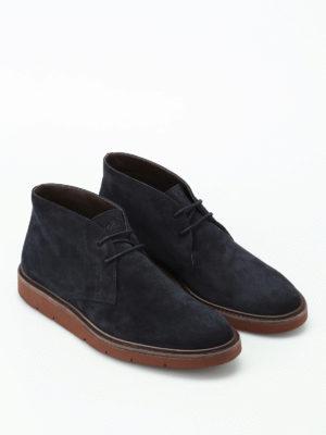Hogan: ankle boots online - H322 Derby blue suede desert boots