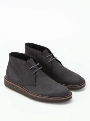 Hogan: ankle boots online - H322 Derby grey suede desert boots