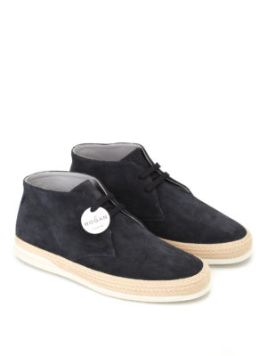Hogan: ankle boots online - H358 Derby high top suede shoes