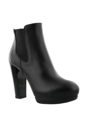 Hogan: ankle boots online - Heeled leather slip-on booties
