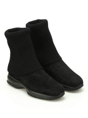 Hogan: ankle boots online - Interactive wool and suede booties