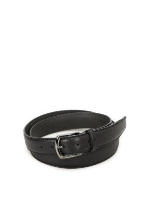 Hogan: belts - Hot stamped logo black leather belt