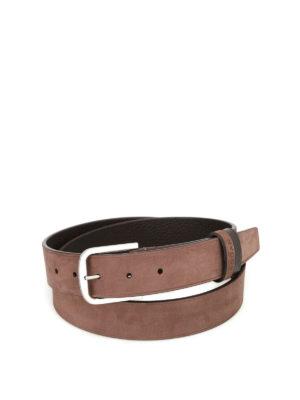 Hogan: belts - Nubuck belt with logo lettering