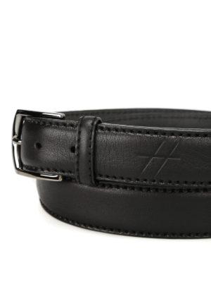 Hogan: belts online - Hot stamped logo black leather belt