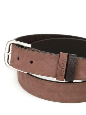 Hogan: belts online - Nubuck belt with logo lettering