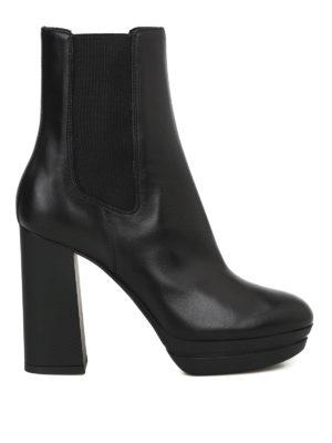HOGAN: stivali - Stivali alti in pelle H391 con plateau