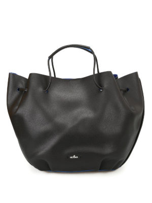 Hogan: Bucket bags - Black hammered leather bucket bag