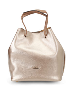 Hogan: Bucket bags - Grainy metallic leather bucket bag
