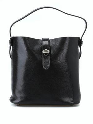 HOGAN: Secchielli - Mini secchiello Hobo in pelle lucida nera