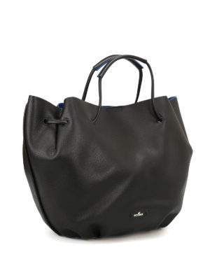 Hogan: Bucket bags online - Black hammered leather bucket bag