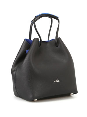 Hogan: Bucket bags online - Grainy black leather bucket bag