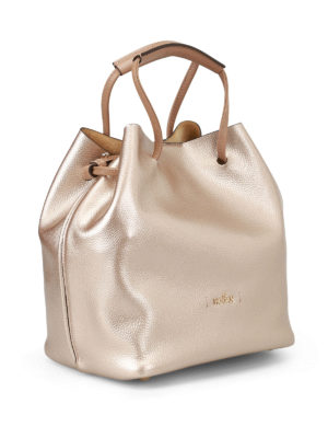 Hogan: Bucket bags online - Grainy metallic leather bucket bag