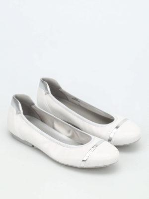 Hogan: flat shoes online - Wrap 144 crackle leather ballerinas