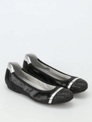 Hogan: flat shoes online - Wrap 144 crackled leather flats