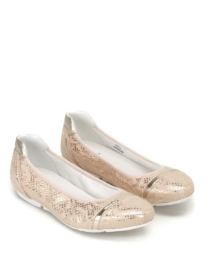 Hogan: flat shoes online - Wrap 144 gold-tone ballerinas
