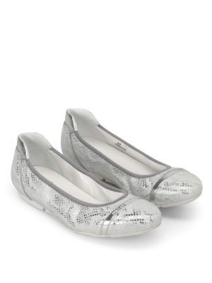 Hogan: flat shoes online - Wrap 144 silver-tone ballerinas