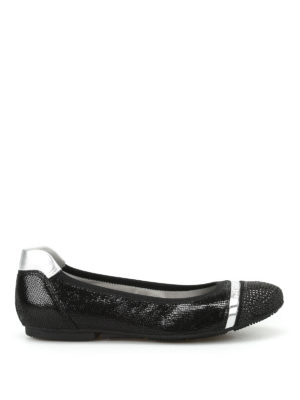 Hogan: flat shoes - Wrap 144 crackled leather flats