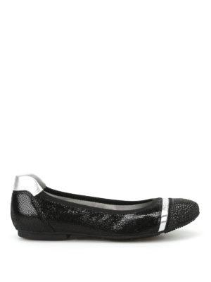 Hogan: flat shoes - Wrap 144 crackled leather flats