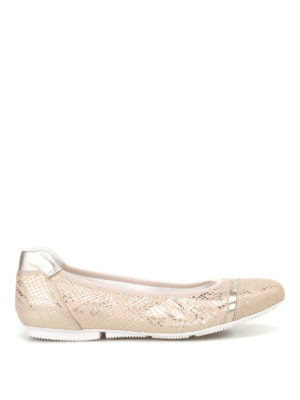 Hogan: flat shoes - Wrap 144 gold-tone ballerinas