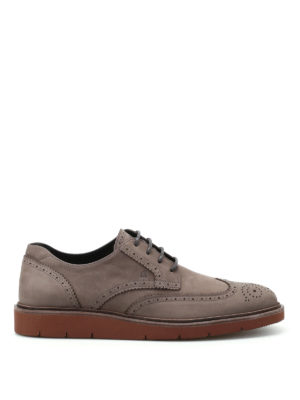 Hogan: lace-ups shoes - H322 Derby brogue nubuck shoes