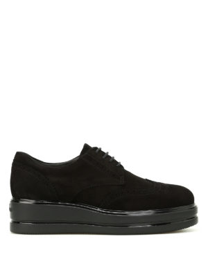 Hogan: lace-ups shoes - H323 suede Derby platform shoes
