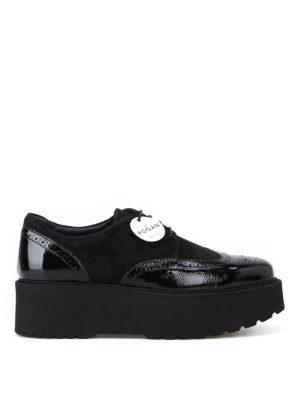 HOGAN: scarpe stringate - Derby H355 nere con maxi suola