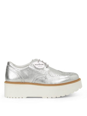 Hogan: lace-ups shoes - H355 metallic leather Derby shoes