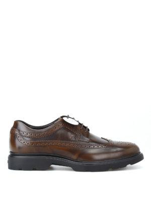 HOGAN: scarpe stringate - Derby stringate H393 marroni con memory foam