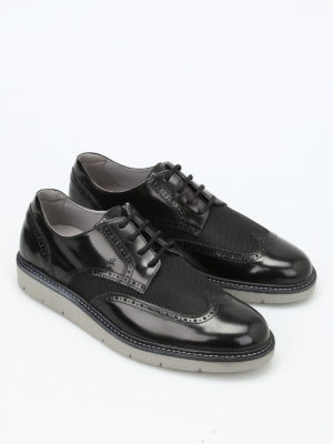 Hogan: lace-ups shoes online - H322 leather and fabric Derby shoes
