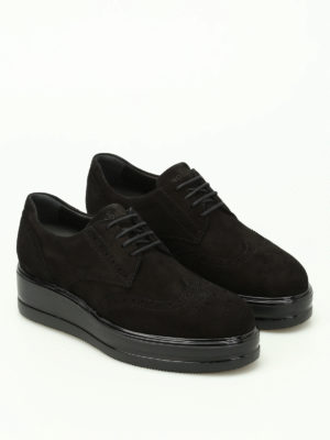 Hogan: lace-ups shoes online - H323 suede Derby platform shoes