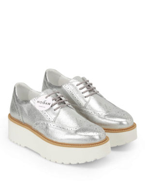 Hogan: lace-ups shoes online - H355 metallic leather Derby shoes