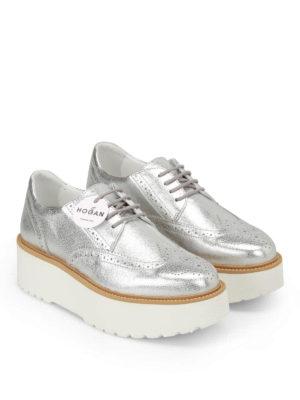 Hogan: lace-ups shoes online - H355 metallic leather Derby shoes