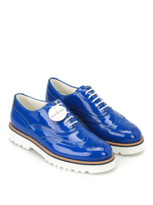 Hogan: lace-ups shoes online - Route H259 blue patent Oxford shoes