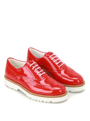 Hogan: lace-ups shoes online - Route H259 red patent Oxford shoes