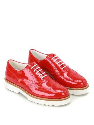 Hogan: lace-ups shoes online - Route H259 red patent Oxford shoes