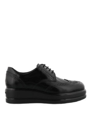 HOGAN: scarpe stringate - Derby brogue Route H323 in pelle
