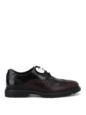 HOGAN: scarpe stringate - Stringate Derby in pelle brogue bicolore