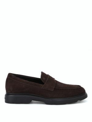 HOGAN: Mocassini e slippers - Mocassini H393 scamosciati color ebano